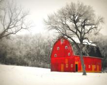 Red Barn in Snow, near East Amana, IA