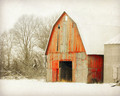 Weathered Red Barn in Morning Snow