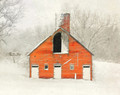 Brick Barn in Fresh Snow, Iowa County, IA