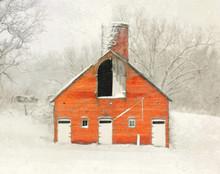 Brick Barn in Fresh Snow, Iowa County, IA