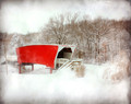 Covered Bridge in Blowing Snow, Winterset, IA