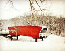 Cedar Bridge on Snowy Morn.  Winterset, IA
