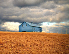 Blue Barn in Storm
