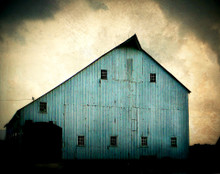 Blue Barn in Storm 2