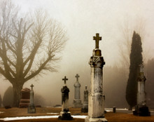Oxford Cemetery on Foggy Morn, Oxford Iowa