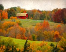 Red Barn in Autumn Foliage, near Stone City, IA