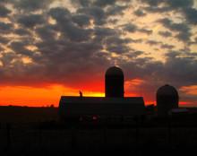 Iowa County Farm in Glowing Sunset, Iowa County, IA