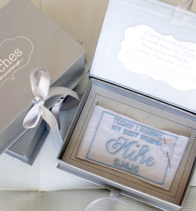 Packaged in a matte silver box, this Something Blue Wedding Dress Label is the perfect gift for every Bride!
