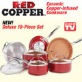 10Pc. Red Copper Cookware Set