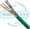 CAT5E, Plenum, MADE IN USA, 24AWG, UTP, 4 Pair, Solid Bare Copper, 350MHz, 1000ft Pull Box, Green