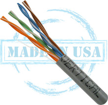 CAT5E, Plenum, MADE IN USA, 24AWG, UTP, 4 Pair, Solid Bare Copper, 350MHz, 1000ft Pull Box, Gray