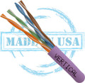 CAT5E, Plenum, MADE IN USA, 24AWG, UTP, 4 Pair, Solid Bare Copper, 350MHz, 1000ft Pull Box, Purple