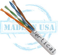 CAT5E, Plenum, MADE IN USA, 24AWG, UTP, 4 Pair, Solid Bare Copper, 350MHz, 1000ft Pull Box, White