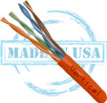 CAT5E, Plenum, MADE IN USA, 24AWG, UTP, 4 Pair, Solid Bare Copper, 350MHz, 1000ft Pull Box, Orange