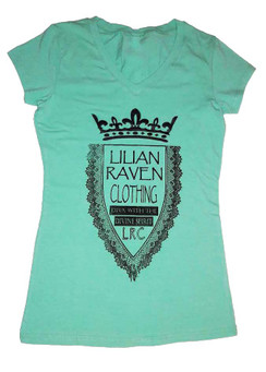 Mint v neck, stretch cotton/spandex LRC logo tee