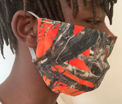 Face Mask Orange Camo Print