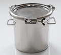 Materials of Construction: - Body: 316L stainless steel - Lid: 316L stainless steel - Clamp: 304 stainless steel - Handles: 304 stainless steel - Gasket: Silicone (FDA 177.2600 and USP Class VI compliant)