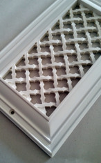 Ribbon grille 8x4 overall size 10x6. White finish.