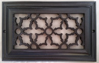Heritage decorative grille for an 8x4 opening. Overall size is 10x6. Oil Rubbed Bronze finish.