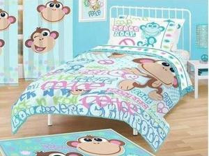 FULL - American Kids - Peace, Love and Rock n Roll Monkey SHEETS, DRAPES &  COMFORTER SET