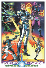 """Color Poster of Peter Parsec, Space Cadet.  Features teammates Carrie Sabres, Monte Zoomie and Buster Crab, along with adversaries and major characters from the Classic Adventures (Calculus, the Slipstick Surfer, the Rack Monster, and General Sna-foo of Regulus), all re-imagined and updated with satiric new details. 13"""" x 19"""" high-quality inkjet print on enhanced matte paper."""