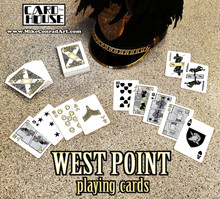 West Point Playing Cards. Custom poker depicting cadets and Academy landmarks.