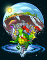 """A whimsical depiction of the world and its relationship to power, based on the ancient mythical concept of a disk carried on the backs of four giant elephants that are, in turn, riding through the universe on the back of a giant turtle. Created for Earth Day 2021, this image can be seen in several different ways, depending on one's political or emotional perspective.13"""" x 19"""" digital print."""