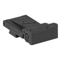 Fully adjustable bar-dot-bar tritium rear sight fits Bo-Mar BMCS Cut, rounded blade w/serrations
