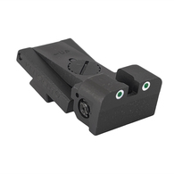 Fully adjustable tritium dot rear sight fits Bo-Mar BMCS Cut, rounded blade w/serrations