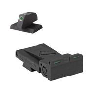 "Fully adjustable bar-dot-bar tritium rear sight fits Bo-Mar BMCS Cut, rounded blade w/serrations - .200"" Tall FLAT BASE Front Sight"