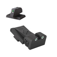 "Fully adjustable tritium dot rear sight fits Bo-Mar BMCS Cut, .120"" deep notch, rounded blade w/serrations - .210 "" Tall FLAT BASE Front Sight"