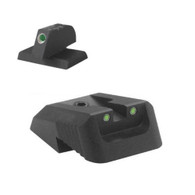 "DFS™ - Defensive Fixed Sight, Fixed tritium dot rear sight fits Novak ® LoMount cut, recessed blade - .160"" Tall FLAT BASE Front Sight"