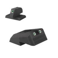 "DFS ® - Defensive Fixed Sight, Fixed tritium dot rear sight w/Novak ® LoMountcut, w/serrations - .160"" Tall FLAT BASE Front Sight"