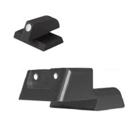 """DFS ® -""""SLAM"""" Sight, White Dot Fixed rear sight fits Novak ® LoMount cut, for one-handed cocking/cycling, recessed blade w/out serrations - .160"""" Tall FLAT BASE Front Sight"""