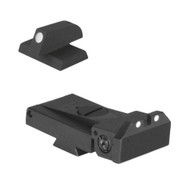 "Fully adjustable white dot sight fits LPA TRT cut, beveled blade w/serrations - .200"" Tall FLAT BASE Front Sight"