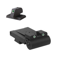 """Fully adjustable tritium dot rear sight fits Caspian Rollo cut, rounded blade .200"""" Tall FLAT BASE Front Sight"""