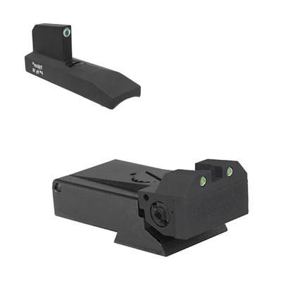 Fully adjustable tritium dot rear sight for RugerÌ´å¬ MKII and MKIII, beveled blade w/serrations Tritium undercut patridge front sight (960-995)