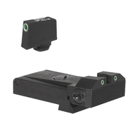 "Fully adjustable tritium dot rear sight for Glock ® 17, 22, 24, 34, 35, 37, & 38, beveled blade w/serrations  .315"" Tall Tritium Front"