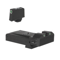 "Fully adjustable tritium dot rear sight for Glock® 17, 22, 24, 34, 35, 37, & 38, beveled blade w/serrations  .350"" Tall Tritium Front"