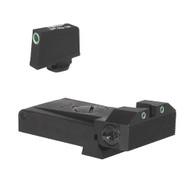 "Fully adjustable tritium dot rear sight for Glock  ® 17, 22, 24, 34, 35, 37, & 38, beveled blade w/serrations  .350"" Tall Tritium Front"