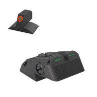 "DAS - Fully Adjustable Bar-Dot-Bar Tritium Rear Sight Fits Novak ® Lomount Cut, W/Serrations - .200"" ProGlo Front Sight"