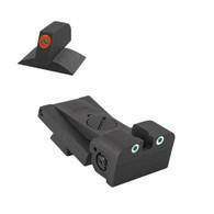 "Adjustable Tritium Dot Rear Sight Fits Bo-Mar Bmcs Cut, .120"" Deep Notch, Rounded Blade W/Serrations - .200 "" Tall ProGlo Front Sight"