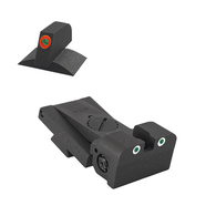 Bomar ® Adjustable Tritium Dot Rear Sight, Rounded Blade W/ 0.200'' Tall Lumi Orange Tritium Contoured Front Sight