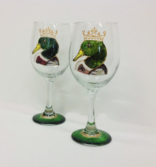 Duck King Wine Glass