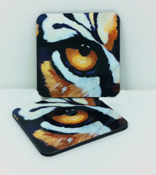 Tiger Eye Corkback Coaster Set
