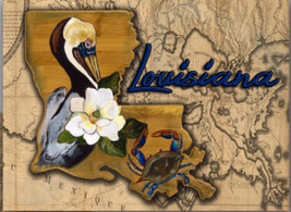 Tempered Glass cutting board 12x15  glass cutting board has the image of the Louisiana brown pelican, blue Crab and Magnolia by artist Stacey Uffman Blanchard