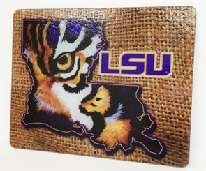 Louisiana Shaped LSU Tiger Eye Cutting Board Burlap