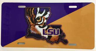 Louisiana Shaped LSU Tiger Eye License Plate
