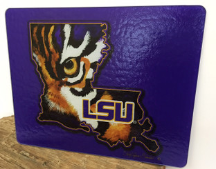 Louisiana Shaped LSU Tiger Eye Cutting Board Purple