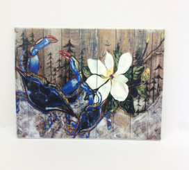 Blue Crab and Magnolia Design on Ceramic Tile